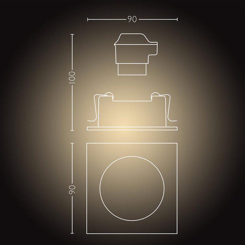 Philips Hue Milliskin Square Recessed Spotlight measurments